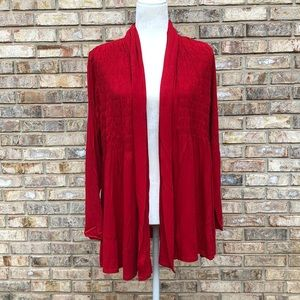 ColdwaterCreek red ruched yoke knit cardigan,L,NWT